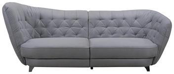 MEGASOFA in Textil Grau  - Chromfarben/Grau, MODERN, Textil/Metall (256/85/115cm) - Carryhome