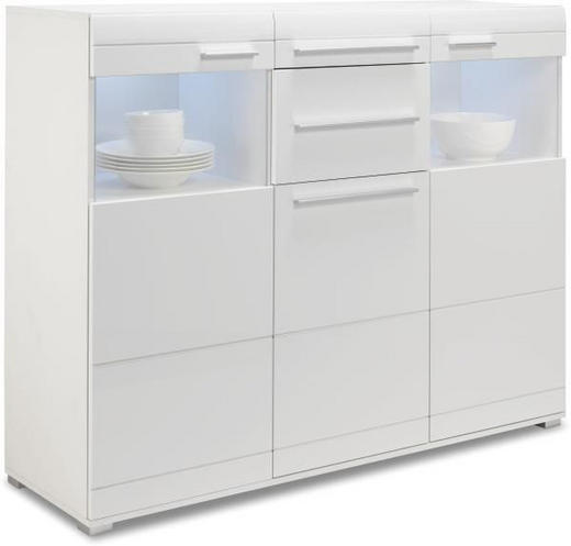 HIGHBOARD - vit, Design, glas/träbaserade material (150/120/45cm) - CARRYHOME