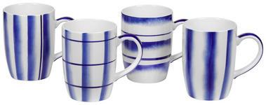 KAFFEEBECHER 380 ml  - Blau/Weiß, Design, Keramik (8,2/11cm) - Landscape