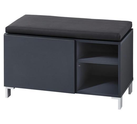 GARDEROBENBANK 80/48/39 cm  - Anthrazit/Alufarben, Design, Holzwerkstoff/Textil (80/48/39cm) - Xora
