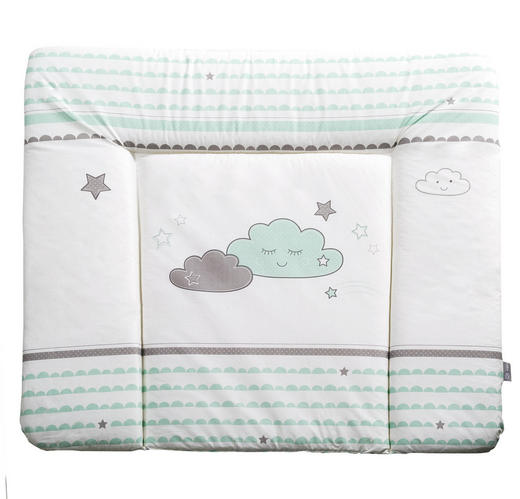 WICKELAUFLAGE Happy Cloud - Weiß/Grau, Basics, Textil (85/75cm) - Roba