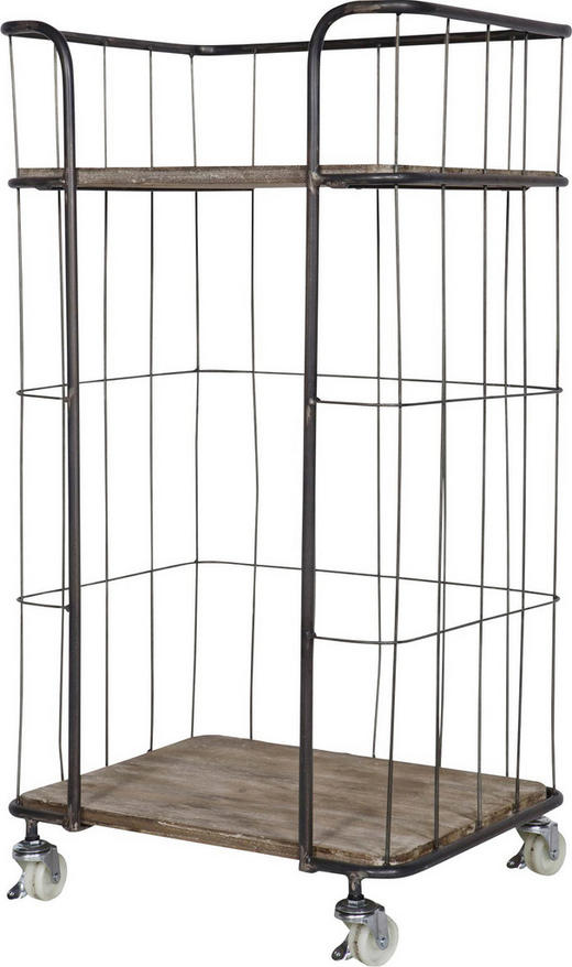REGAL Altholz massiv Silberfarben - Silberfarben, Design, Holz/Metall (47,5/88,5/37,5cm) - Carryhome
