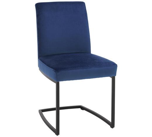 SCHWINGSTUHL in Textil Blau, Schwarz - Blau/Schwarz, Design, Textil/Metall (46/88/61cm) - Joop!