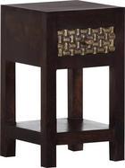 KONSOLE Mangoholz teilmassiv Dunkelbraun, Messingfarben - Dunkelbraun/Messingfarben, Design, Holz (30/50/32cm) - LANDSCAPE
