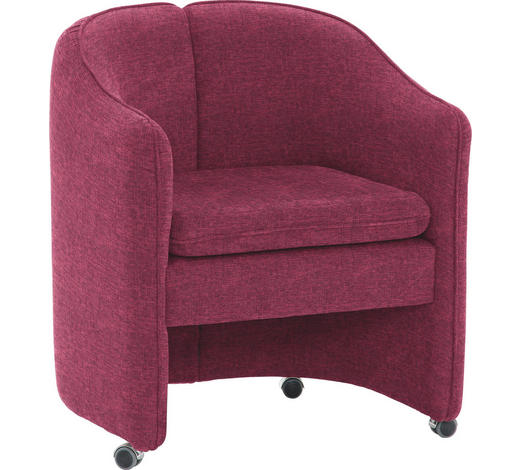 SESSEL in Textil Rot  - Chromfarben/Rot, KONVENTIONELL, Kunststoff/Textil (69/78/60cm) - Venda
