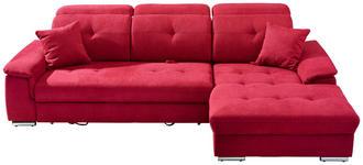 WOHNLANDSCHAFT Rot  - Rot/Silberfarben, Design, Textil/Metall (279/187cm) - Cantus