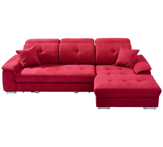 WOHNLANDSCHAFT in Textil Rot - Silberfarben/Rot, KONVENTIONELL, Textil/Metall (279/187cm) - Cantus