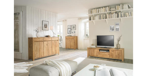 TV-ELEMENT Wildeiche, Kerneiche massiv Eichefarben  - Eichefarben, KONVENTIONELL, Holz (165,1/47,5/47cm) - Linea Natura