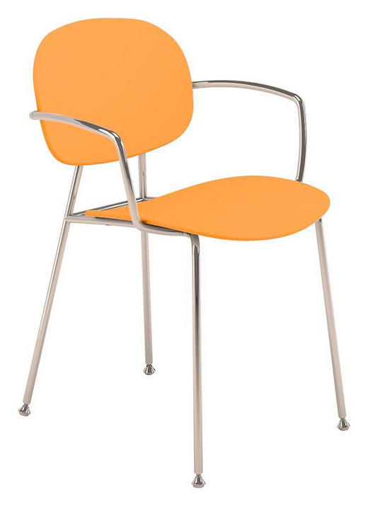 ARMLEHNSTUHL Chromfarben, Gelb, Orange - Chromfarben/Gelb, Design, Kunststoff/Metall (45/81,5/50,9cm)