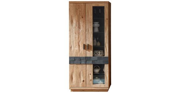 VITRINE Wildeiche Eichefarben, Dunkelgrau  - Dunkelgrau/Eichefarben, KONVENTIONELL, Glas/Holz (85/197/38cm) - Cantus