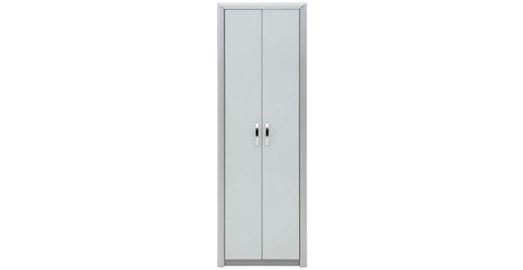 GARDEROBENSCHRANK Alufarben, Weiß - Alufarben/Weiß, Design, Glas/Holzwerkstoff (66/195/33cm) - Dieter Knoll