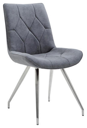 STOL - grå/rostfritt stål-färgad, Design, metall/textil (51,5/89/65,5cm) - Novel