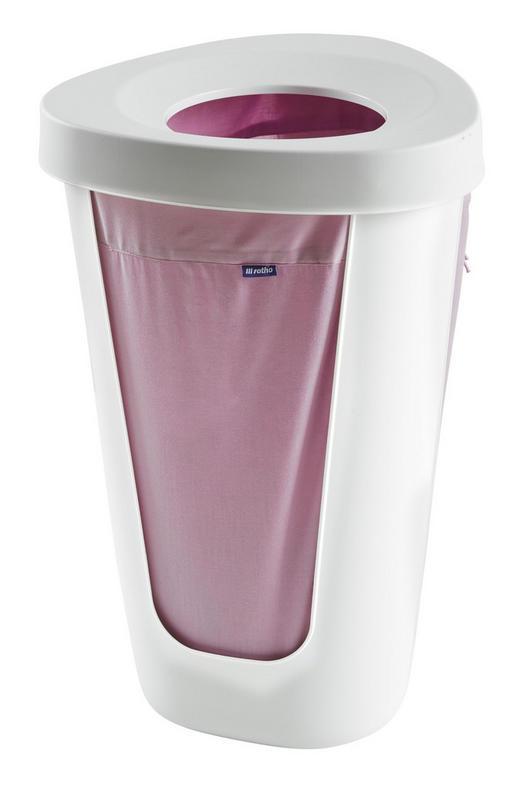 WÄSCHETONNE - Weiß/Rosa, Basics, Kunststoff/Textil (40,8/40/90,6cm) - Rotho
