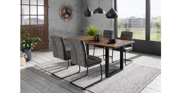 SCHWINGSTUHL in Metall, Textil Grau  - Schwarz/Grau, Design, Textil/Metall (46/95/62,5cm) - Cantus
