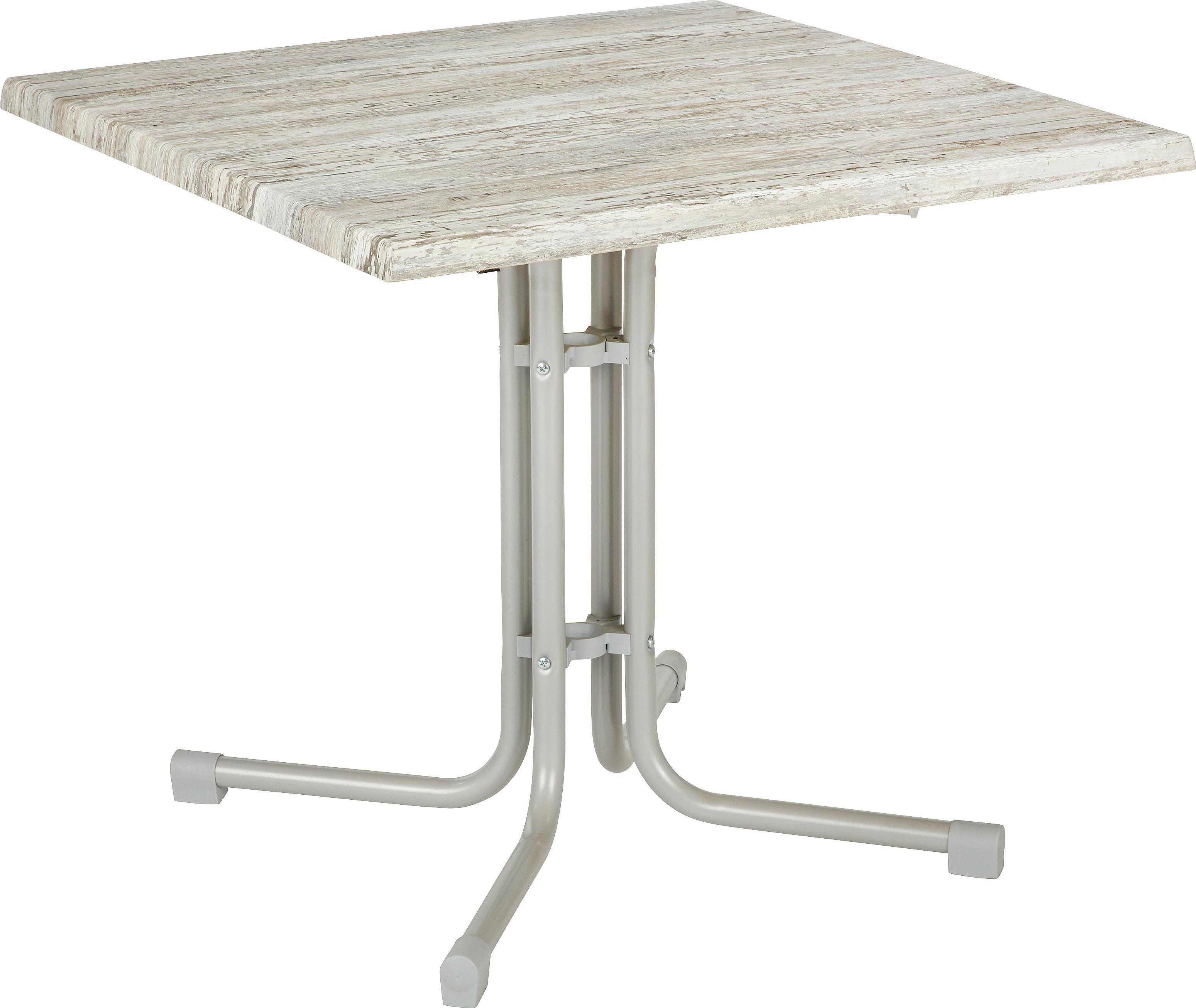 STOL VRTNI - siva/boje srebra, Konvencionalno, drvni materijal/metal (80/71/80cm) - AMBIA GARDEN
