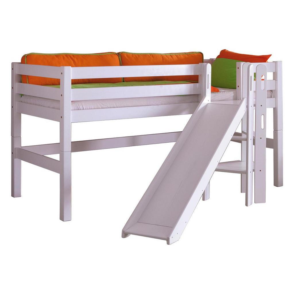 XXXL SPIELBETT Buche massiv 90/200 cm Weiß | Kinderzimmer > Kinderbetten > Hochbetten | Weiß | Holz