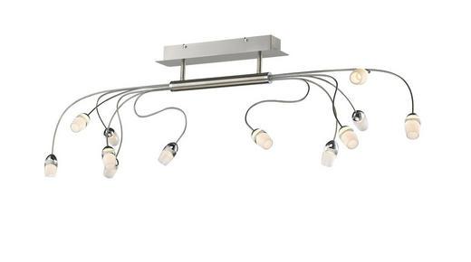 LED-DECKENLEUCHTE - Weiß/Nickelfarben, MODERN, Glas/Metall (125/40/30cm)