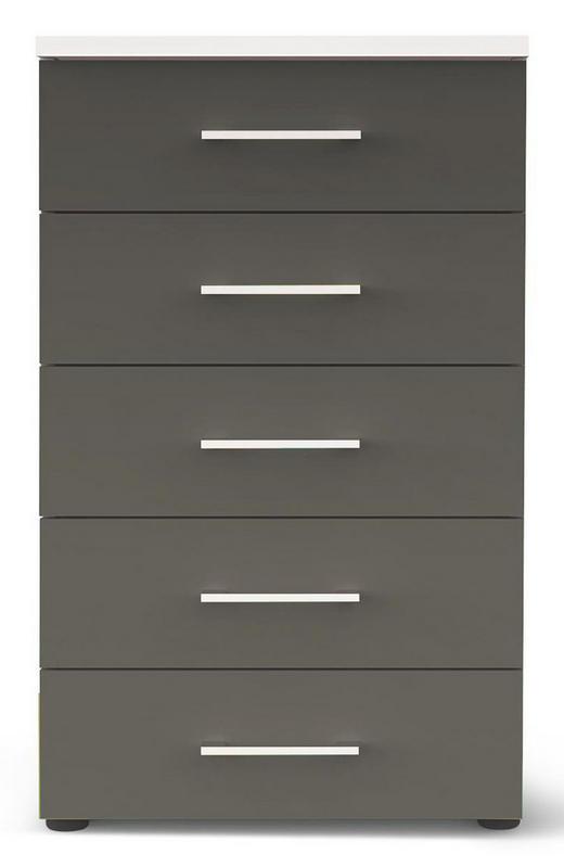 KOMMODE Grau, Weiß - Chromfarben/Schwarz, Design, Kunststoff/Metall (50/84/39,5cm) - CARRYHOME