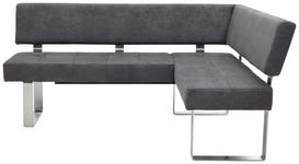 ECKBANK in Metall, Textil Anthrazit, Silberfarben - Edelstahlfarben/Anthrazit, Design, Textil/Metall (182/137cm) - Dieter Knoll