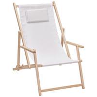 STRANDSESSEL - Buchefarben/Weiß, Design, Holz/Textil (56/66/103cm) - Xora