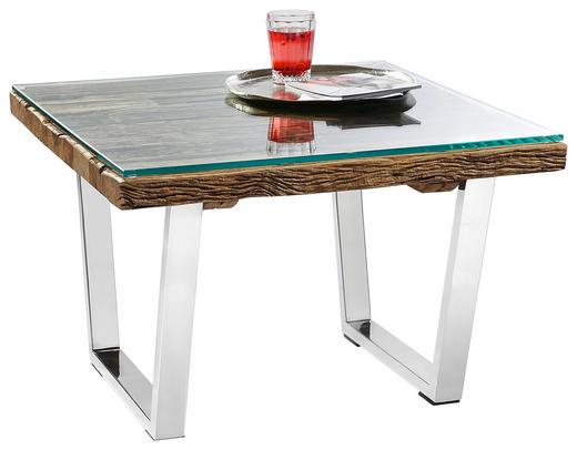 COUCHTISCH Recyclingholz massiv quadratisch Edelstahlfarben, Naturfarben - Edelstahlfarben/Naturfarben, Design, Glas/Holz (70 70 45cm) - Landscape