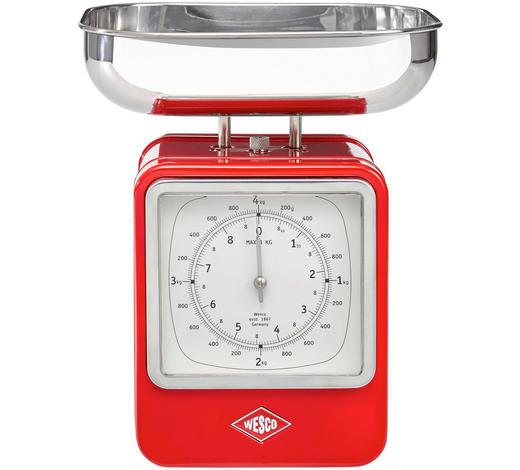 Retro Küchenwaage mit Uhr - Edelstahlfarben/Rot, Basics, Metall (13/15/27cm) - Wesco