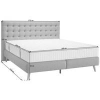 POSTEL BOXSPRING, 160 cm  x 200 cm, textil, světle šedá - světle šedá/přírodní barvy, Design, dřevo/textil (160/200cm) - Carryhome