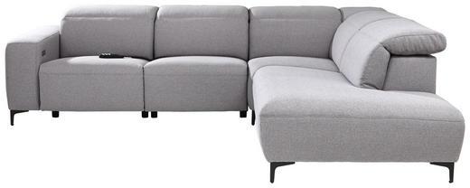 WOHNLANDSCHAFT Grau Rücken echt - Chromfarben/Schwarz, Design, Textil (290/238cm) - Pure Home Lifestyle