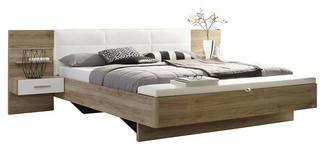 BETTANLAGE in Weiß, Eichefarben  - Eichefarben/Weiß, Design, Holzwerkstoff (180/200cm) - Carryhome
