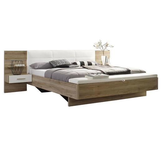 BETTANLAGE - Eichefarben/Weiß, Design, Holzwerkstoff (180/200cm) - Carryhome