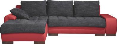 WOHNLANDSCHAFT in Textil Rot, Schwarz  - Wengefarben/Rot, Design, Holz/Textil (198/278cm) - Carryhome
