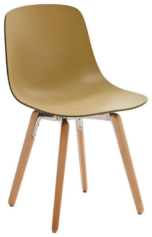 STUHL in Holz, Kunststoff Buchefarben, Olivgrün - Buchefarben/Olivgrün, Design, Holz/Kunststoff (47,3/80,3/51,5cm)