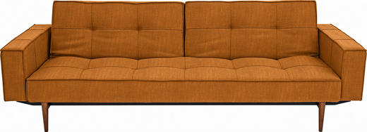 SCHLAFSOFA in Textil Gelb - Ulmefarben/Dunkelbraun, Design, Holz/Textil (242/79/115cm) - Innovation