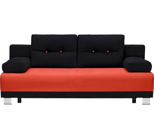 SCHLAFSOFA Webstoff Orange, Schwarz  - Schwarz/Alufarben, Design, Kunststoff/Textil (200/84/94cm) - Carryhome