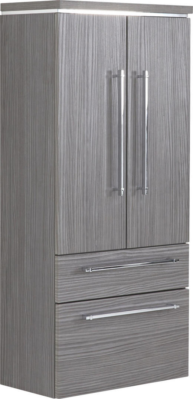 SEITENSCHRANK 60/132/30 cm - Chromfarben/Grau, Design, Glas/Holzwerkstoff (60/132/30cm) - Novel