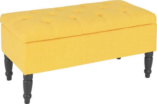 SITZBANK Flachgewebe massiv Gelb, Schwarz - Gelb/Schwarz, LIFESTYLE, Holz/Textil (80/40/40cm) - Carryhome