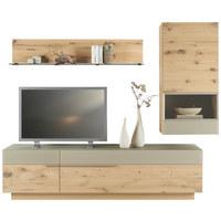 WOHNWAND Wildeiche mehrschichtige Massivholzplatte (Tischlerplatte) Eichefarben, Schlammfarben - Schlammfarben/Eichefarben, Design, Glas/Holz (244/202/23-54cm) - VOGLAUER