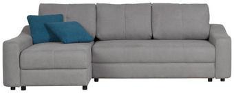 WOHNLANDSCHAFT in Dunkelblau, Hellgrau Textil - Hellgrau/Schwarz, Design, Kunststoff/Textil (153/250cm) - TI`ME