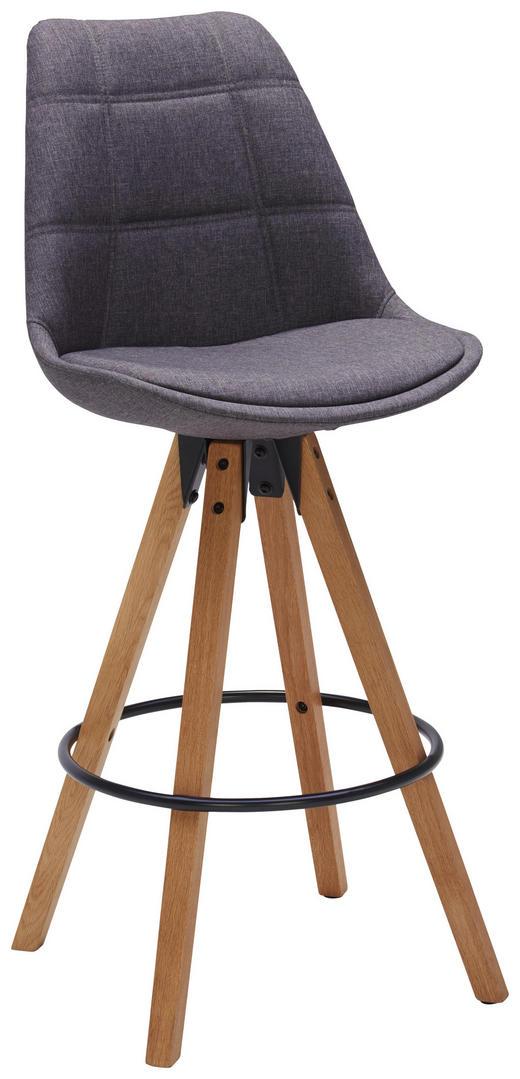 BARHOCKER Webstoff Dunkelgrau, Eichefarben - Eichefarben/Dunkelgrau, Design, Holz/Textil (49/113,5/56cm) - Carryhome