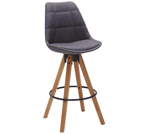 BARHOCKER Webstoff Eichefarben, Dunkelgrau  - Eichefarben/Dunkelgrau, Design, Holz/Textil (49/113,5/56cm) - Carryhome