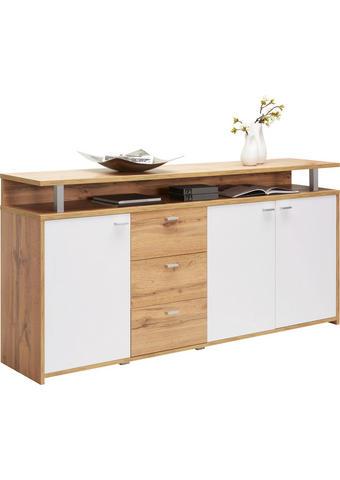 KOMODA, bela, hrast - aluminij/bela, Konvencionalno, kovina/leseni material (177,1/88/38cm) - Xora