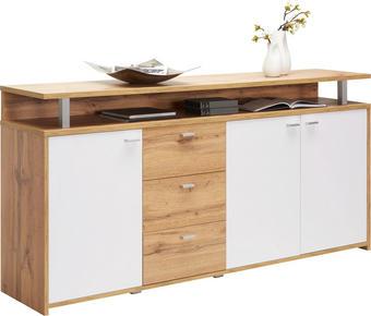 KOMODA - bílá/barvy dubu, Konvenční, kov/dřevěný materiál (177,1/88/38cm) - Xora