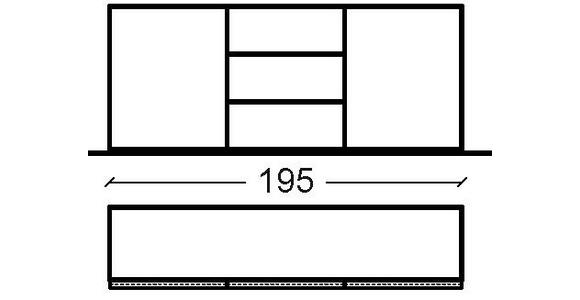 SIDEBOARD Hochglanz, lackiert, matt, Mattlack, Wasserlack Nussbaumfarben, Weiß - Nussbaumfarben/Weiß, Design, Holzwerkstoff (195/81/44cm) - Dieter Knoll