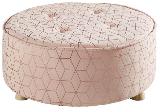 HOCKER Tanne Hellbraun, Pink - Hellbraun/Pink, Holz/Textil (50/21cm)