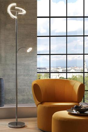 LED-GOLVLAMPA - kromfärg, Design, metall/plast (30/180cm) - Novel