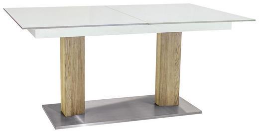 ESSTISCH in Glas, Holz, Metall 140(190)/100/77 cm - Edelstahlfarben/Eichefarben, Design, Glas/Holz (140(190)/100/77cm) - Dieter Knoll