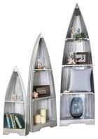 BOOTSREGAL Mahagoni massiv gebeizt, lackiert Silberfarben - Silberfarben, LIFESTYLE, Holz (35/46/55/95/145/195/25/31/34cm) - Carryhome
