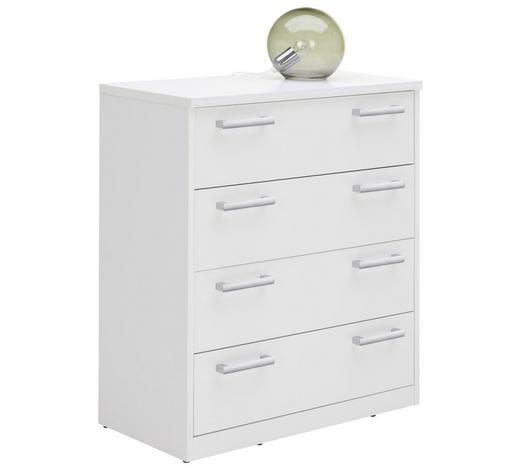KOMODA, bílá - bílá/barvy stříbra, Konvenční, kov/kompozitní dřevo (72/84/36cm) - Xora