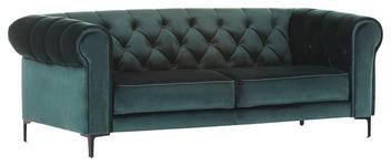ZWEISITZER-SOFA in Textil Grün, Petrol  - Petrol/Schwarz, Trend, Textil/Metall (195/75/90cm) - Carryhome