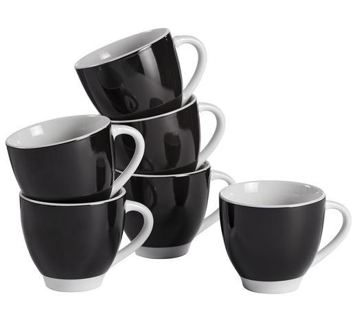 TASSENSET 6-teilig Keramik Porzellan Schwarz, Weiß  - Schwarz/Weiß, Basics, Keramik (14,5cm)